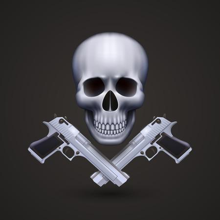 ammo: Skull with pistols art banner. Vector illustration
