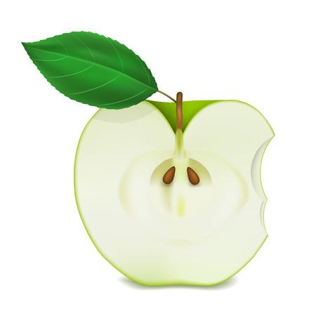 bitten: Manzana mordida en el fondo blanco arte. Ilustraci�n vectorial Vectores