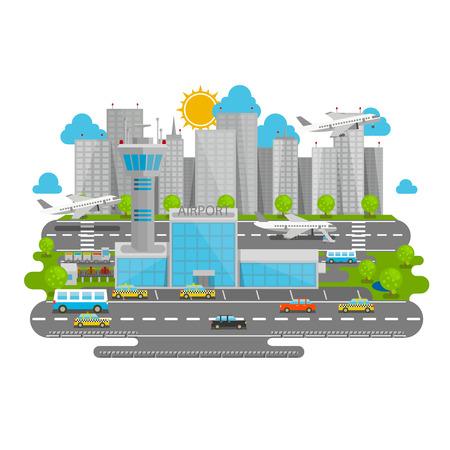 airport terminal: Processes airport flat city art. Vector illustration