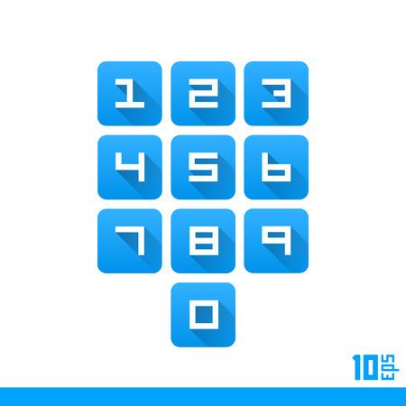 teclado numérico: Conjunto de protección de los botones numéricos. Ilustración vectorial