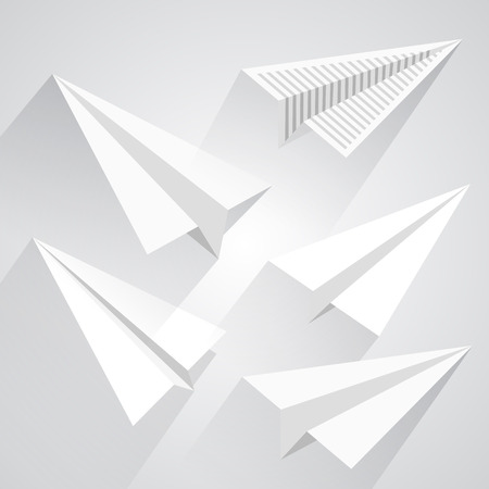 paper airplane: Paper airplane set art paper. Vector illsutration