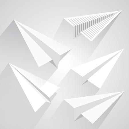 Paper airplane set art paper. Vector illsutration