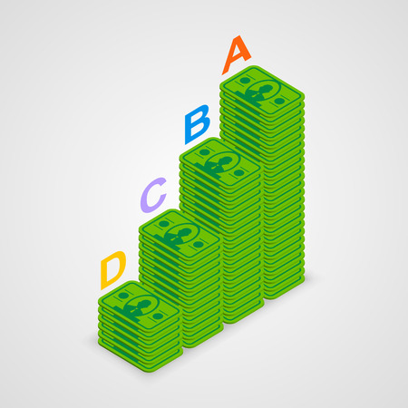 Isometric pyramid money art info. Vector illustration Vector