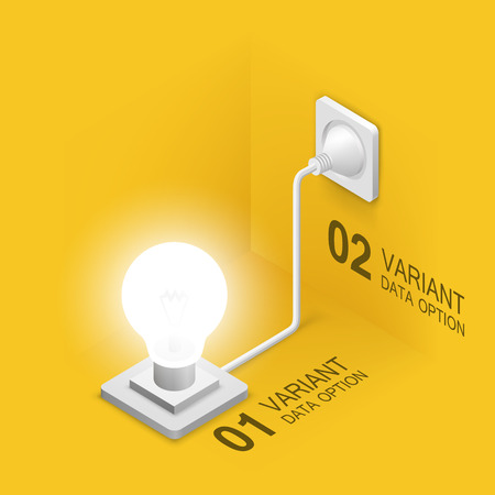 plugged in': Lamp plugged in  isometric art. Vector illustration