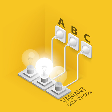 plugged: Lamp plugged in  isometric art. Vector illustration