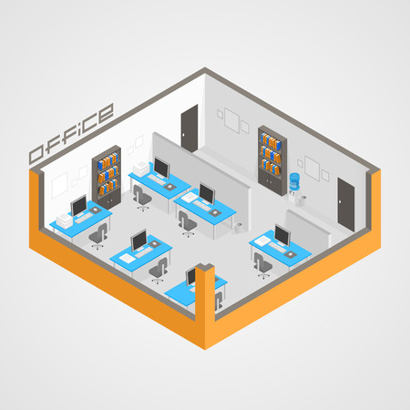 Office room it development art. Vector illustration Vettoriali