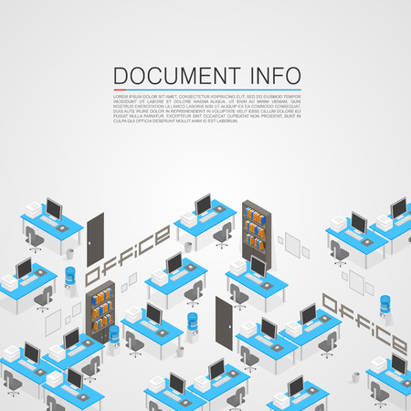 Office room it development art. Vector illustration Çizim