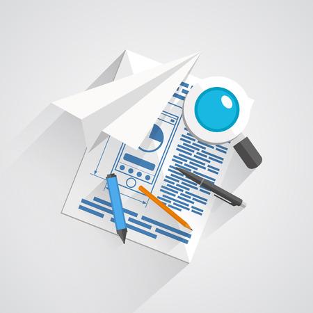 articulos oficina: Vector collage de art�culos de oficina. ilustraci�n del arte