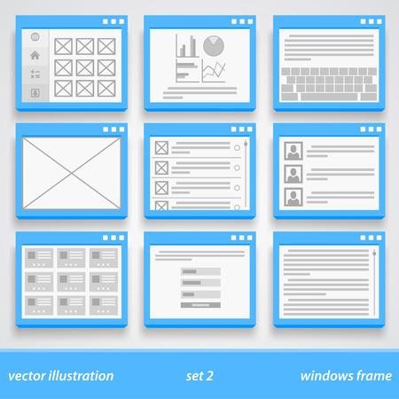 empty window: Flat windows frame. set 2. Vector illustration art