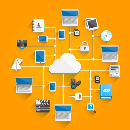 tecnologia informacion: Nube icono de la red de arte plana. Ilustraci�n vectorial Vectores