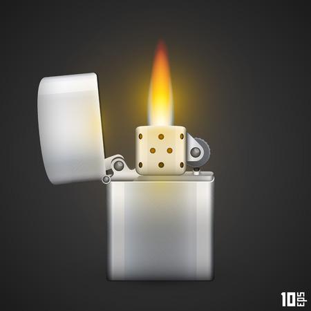 gas lighter: Lighter with fire art fire object. Vector illustration