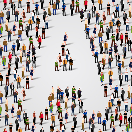 Große Gruppe von Menschen in Buchstabe A Form. Vector nahtlose Hintergrund Standard-Bild - 36354669