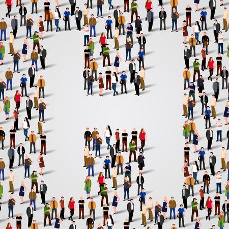 Große Gruppe von Menschen in Buchstabe H-Form. Vector nahtlose Hintergrund Standard-Bild - 36354681