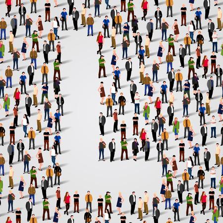 Große Gruppe von Menschen in Buchstaben L bilden. Vector nahtlose Hintergrund Standard-Bild - 36355001