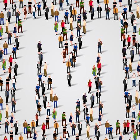 Große Gruppe von Menschen in Buchstabe M Form. Vector nahtlose Hintergrund Standard-Bild - 36355002