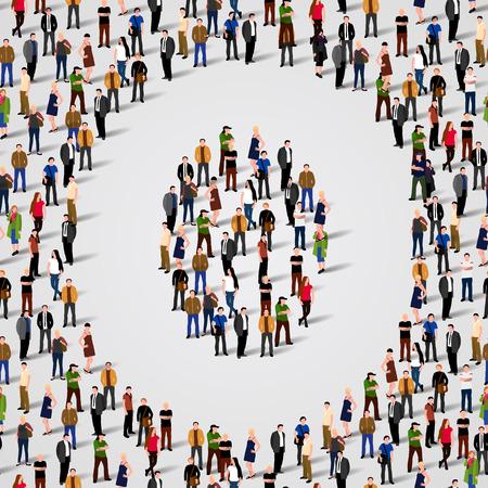 Große Gruppe von Menschen in Buchstabe O Form. Vector nahtlose Hintergrund Standard-Bild - 36355004