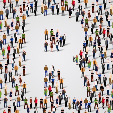 Große Gruppe von Menschen in Buchstabe R-Form. Vector nahtlose Hintergrund Standard-Bild - 36355007