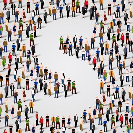 grupo: Gran grupo de personas en forma de carta S. Vector de fondo sin fisuras Vectores
