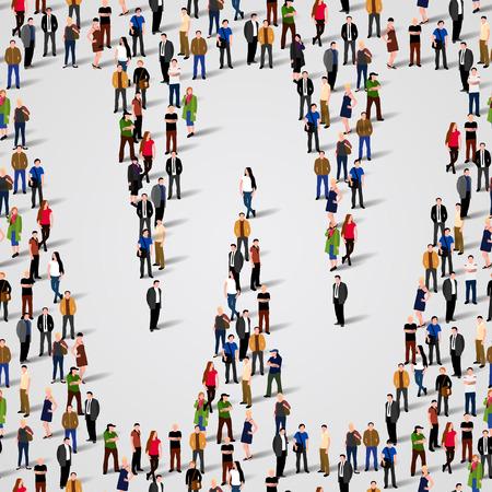 Große Gruppe von Menschen in Buchstaben W Form. Vector nahtlose Hintergrund Standard-Bild - 36355237