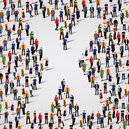 Large group of people in letter X form. Vector seamless background Ilustração