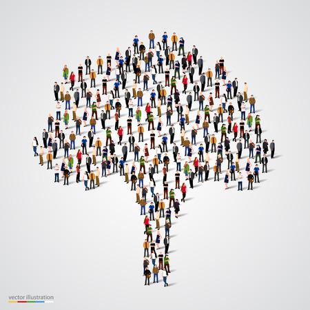 Árbol grande formado de personas. Ilustración vectorial