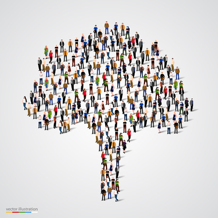 kin: Large tree formed out of people. Vector illustration
