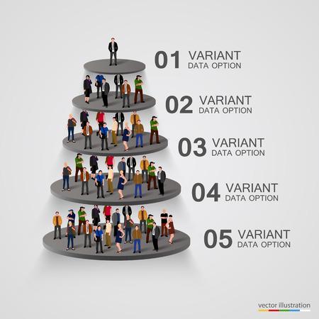 Mensen op een voetstuk in de hiërarchie. Vector illustratie