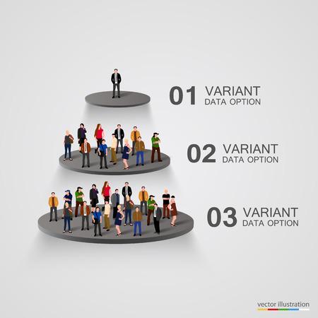 jerarqu�a: La gente en un pedestal en la jerarqu�a. Ilustraci�n vectorial