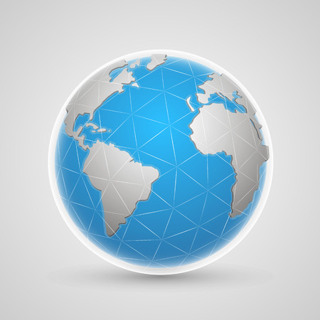 world globe map: Planet network earth art globe. Vector Illustration