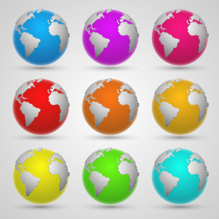realist: Colored planet earth art set. Vector Illustration Illustration