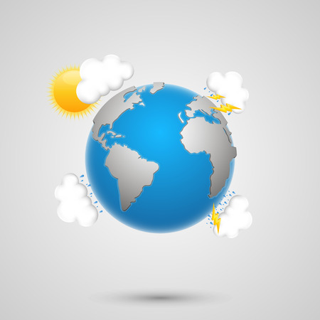 Weather earth art creatibe banner. Vector Illustration Ilustração