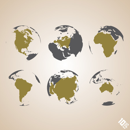 north africa: World map vector background art earth globe. Vector Illustration