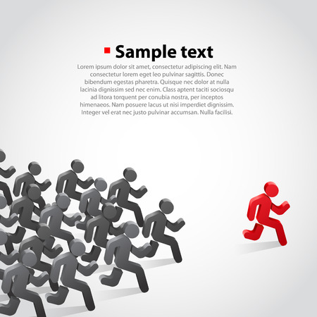 faster: Crowd chasing leader background. Clean vwctor illustration