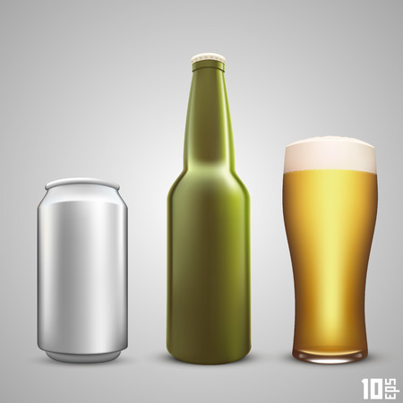 10eps: Beer collection set color art. Vector illustration