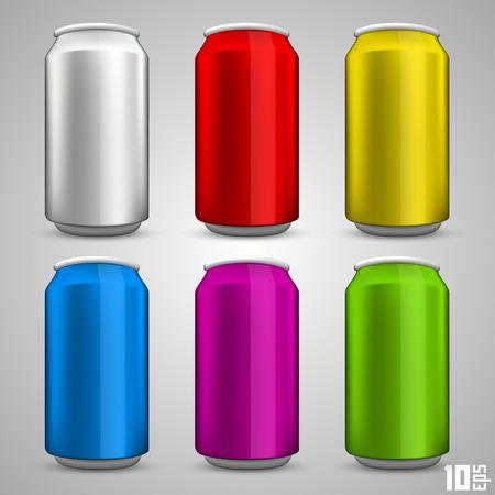 lata de refresco: Botella de cerveza establece arte color. Ilustración vectorial Vectores