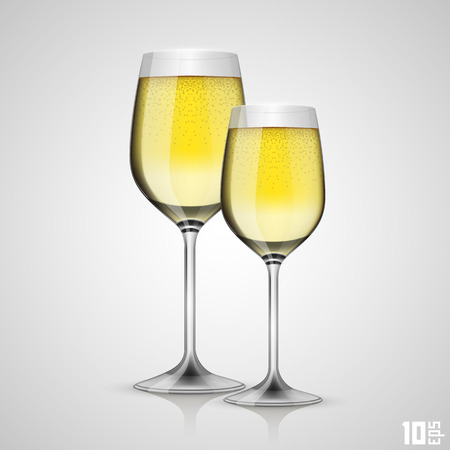 christal: Glass of champagne art object. Vector illustration