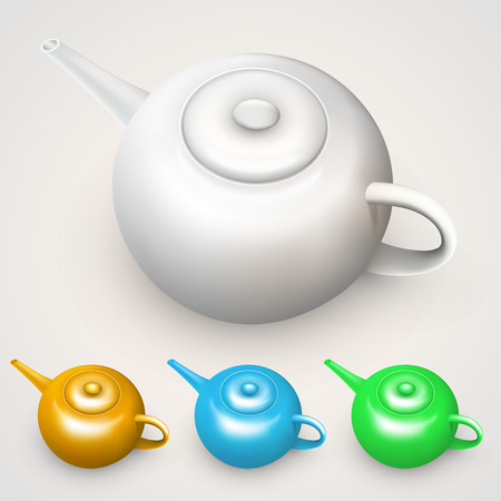 Bright colored teapots isolated on white background Vector