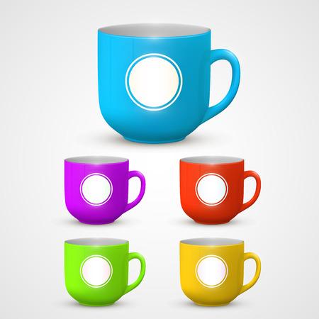Mug set colors art object. Vector illustration
