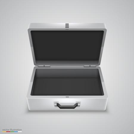 coffer: Outdoor metal briefcase art object. Vector Illustration Illustration