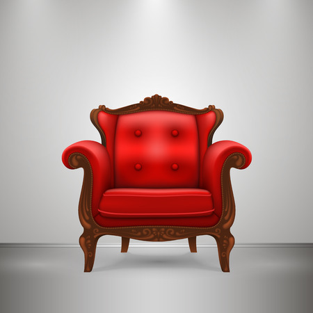 Retro chair red art furniture. Vector Illustration Vector