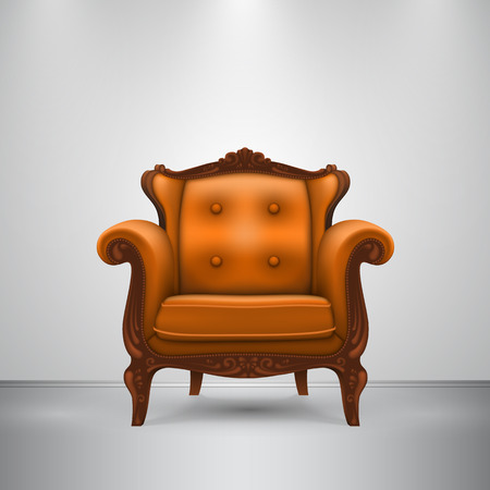 dark room: Retro chair orange art furniture. Vector Illustration