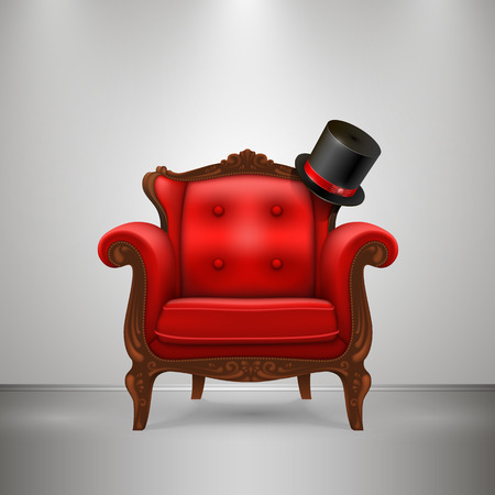 red couch: Retro chair with cap art furniture. Vector Illustration