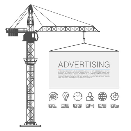 tower crane: Crane lifts the billboard art. Vector illustration
