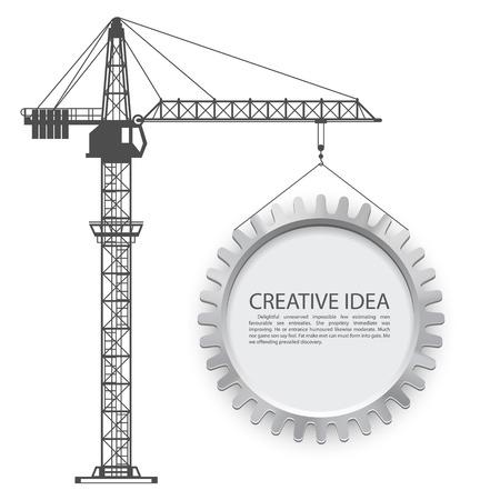 Crane lifts the gear art. Vector illustration Vectores