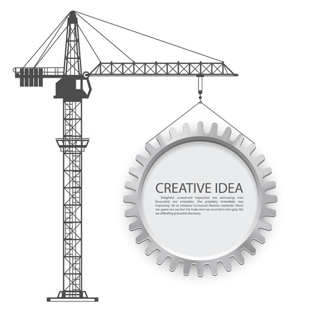 Crane lifts the gear art. Vector illustration Stock Illustratie
