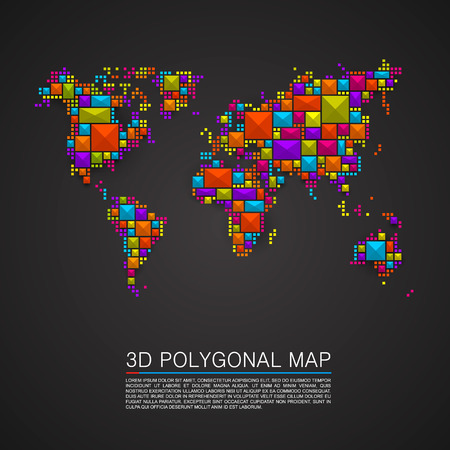 Map 3d polygon art cube. Vector illustration