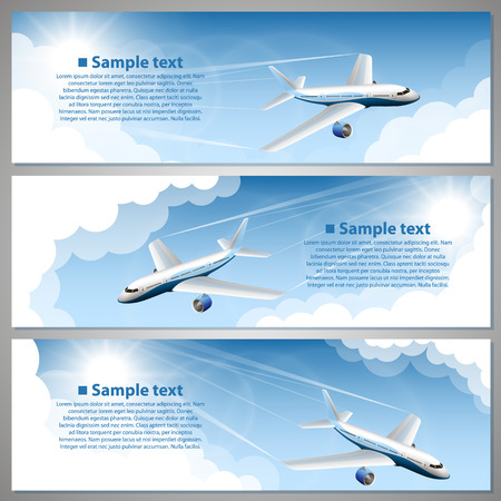 airplane landing: Airfare, banner set art creative. Vector illustration Illustration