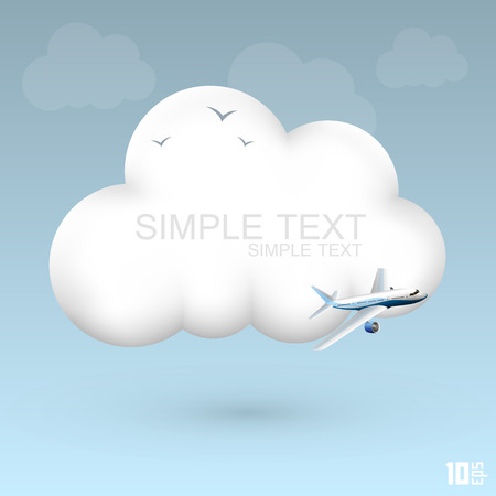 airplane landing: Air cloud icon art creative. Vector illustration