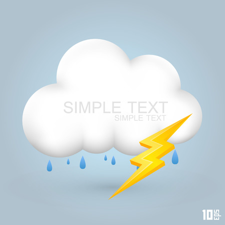 forecaster: Cloud and rain with thunder art creative. Vector illustration