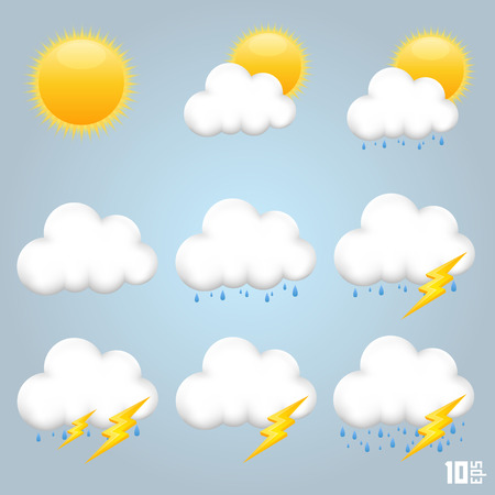 windsock: Collection of clouds art creative. Vector illustration